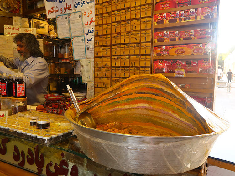 Persian spices in the Grand Bazaar of Isfahan, Iran.