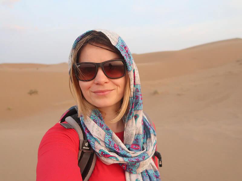 Selfi in the Maranjab desert in Iran.